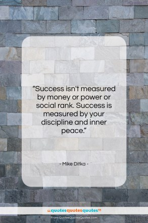 "Mike Ditka quote: ""Success isn't measured by money or power…""- at QuotesQuotesQuotes.com"