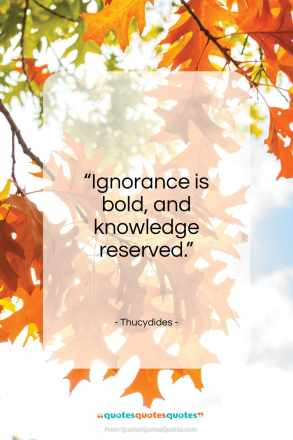 "Thucydides quote: ""Ignorance is bold, and knowledge reserved.""- at QuotesQuotesQuotes.com"