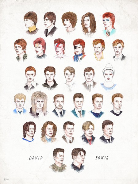 david bowie hairstyles illustration color