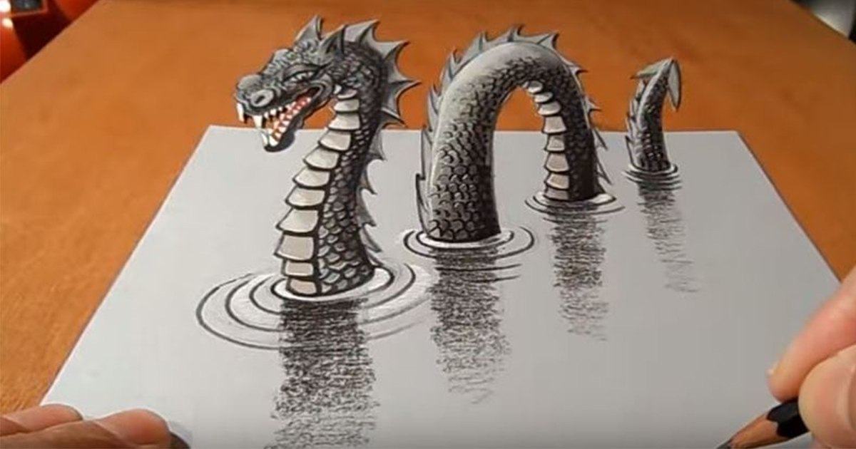 Drawing a 3D Loch Ness Monster (VIDEO)
