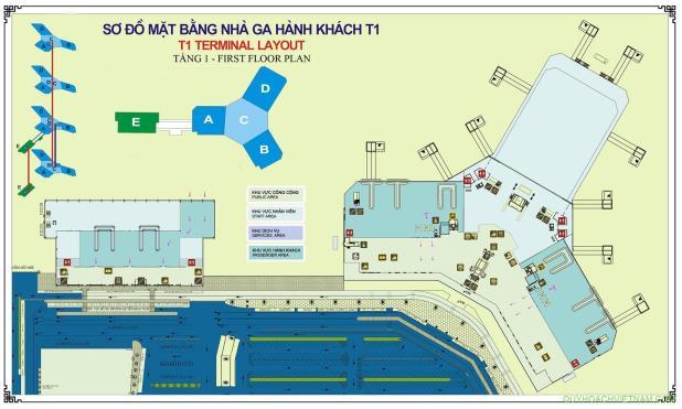 Bản đồ sân bay nội bài nhà ga T1 tầng 1