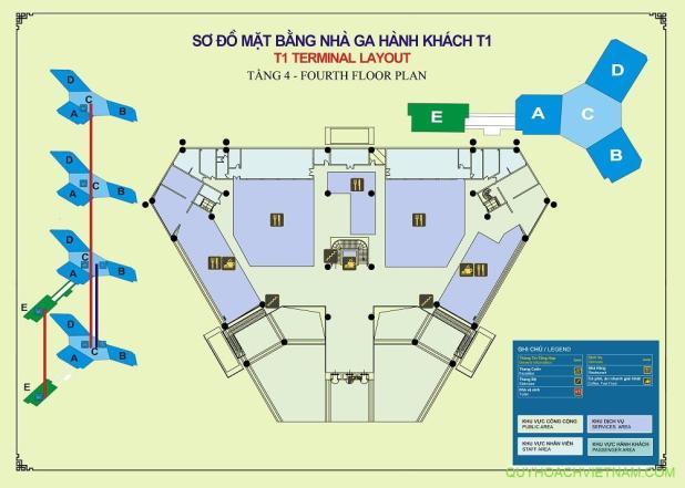 Bản đồ sân bay nội bài nhà ga T1 tầng 4