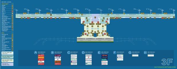 Bản đồ sân bay nội bài nhà ga T2 tầng 3