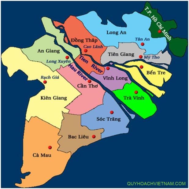Bản đồ quy hoạch vùng đồng bằng sông Cửu Long