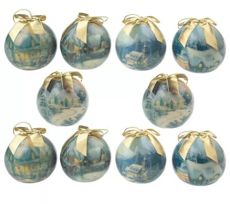 Thomas Kinkade Set Of 10 Christmas Ornaments
