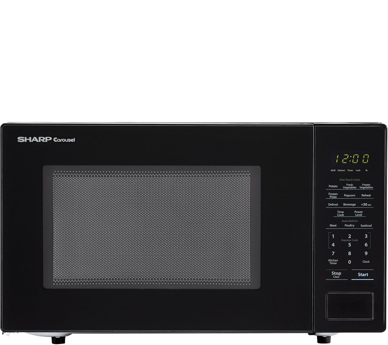 sharp carousel 1 1 cu ft 1000w countertop microwave oven qvc com
