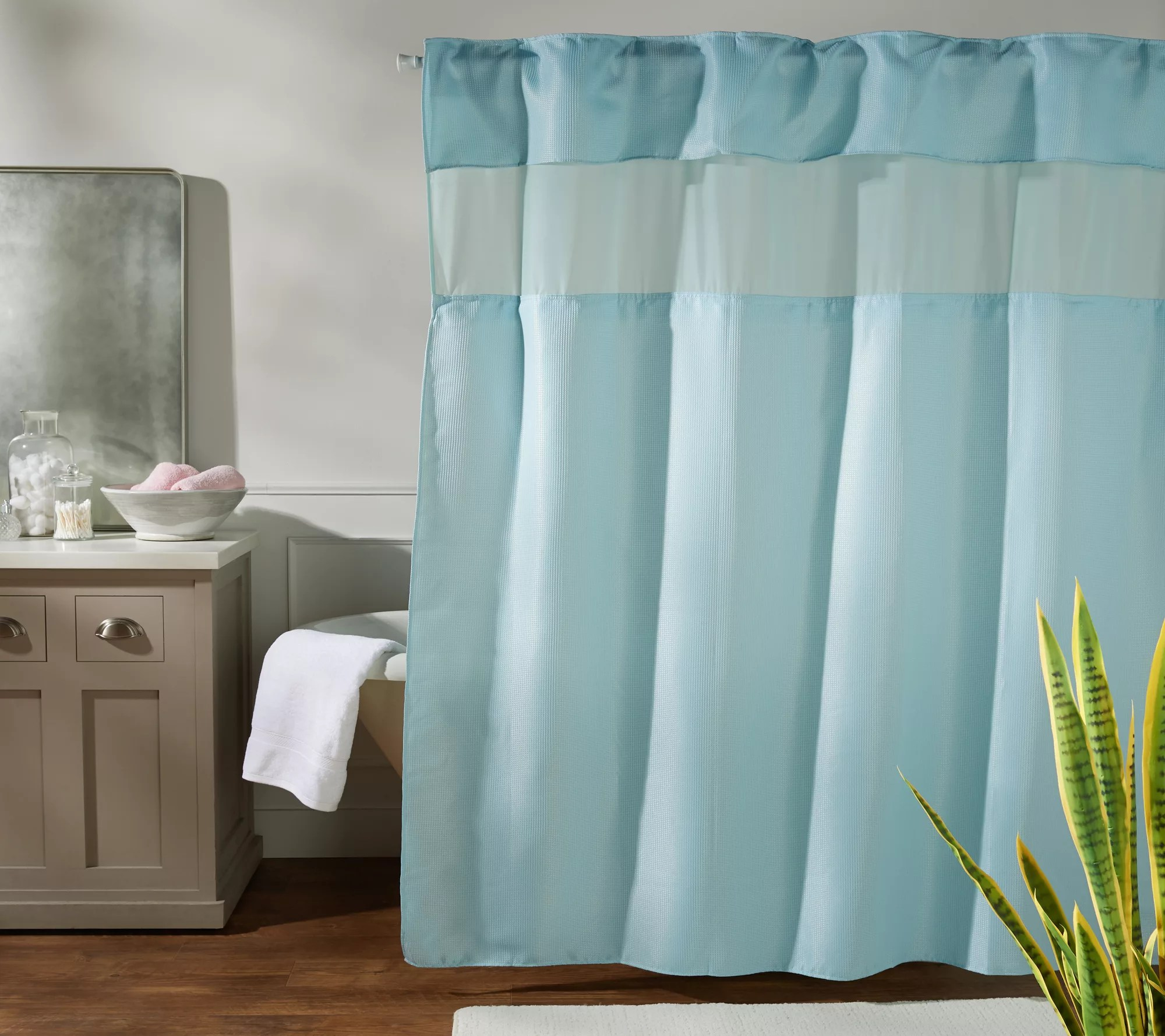 hookless shower curtain with hidden rings valance and window qvc com