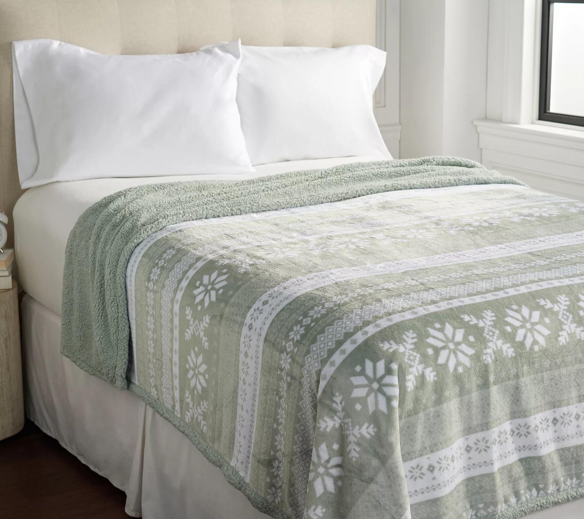 berkshire blanket velvet soft sherpa fair isle print blanket full qvc com
