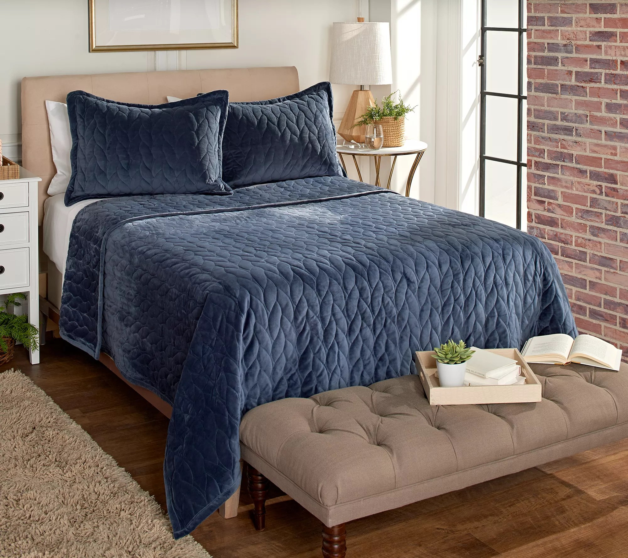 berkshire blanket boho braid quilted coverlet set queen qvc com