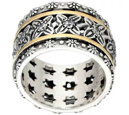 Sterling Silver Amp 14K Gold Crystal Spinner Ring By Or Paz