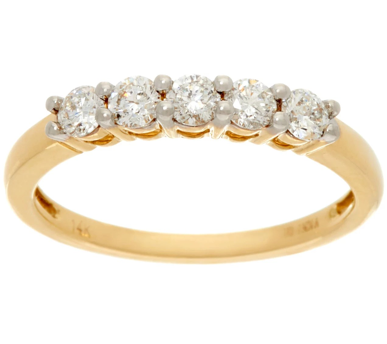 12 Cttw 5 Stone Diamond Band Ring 14K Gold Affinity