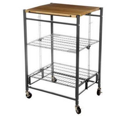 Folding Island EZ Fold Kitchen Cart W Metal Frame Amp Wood