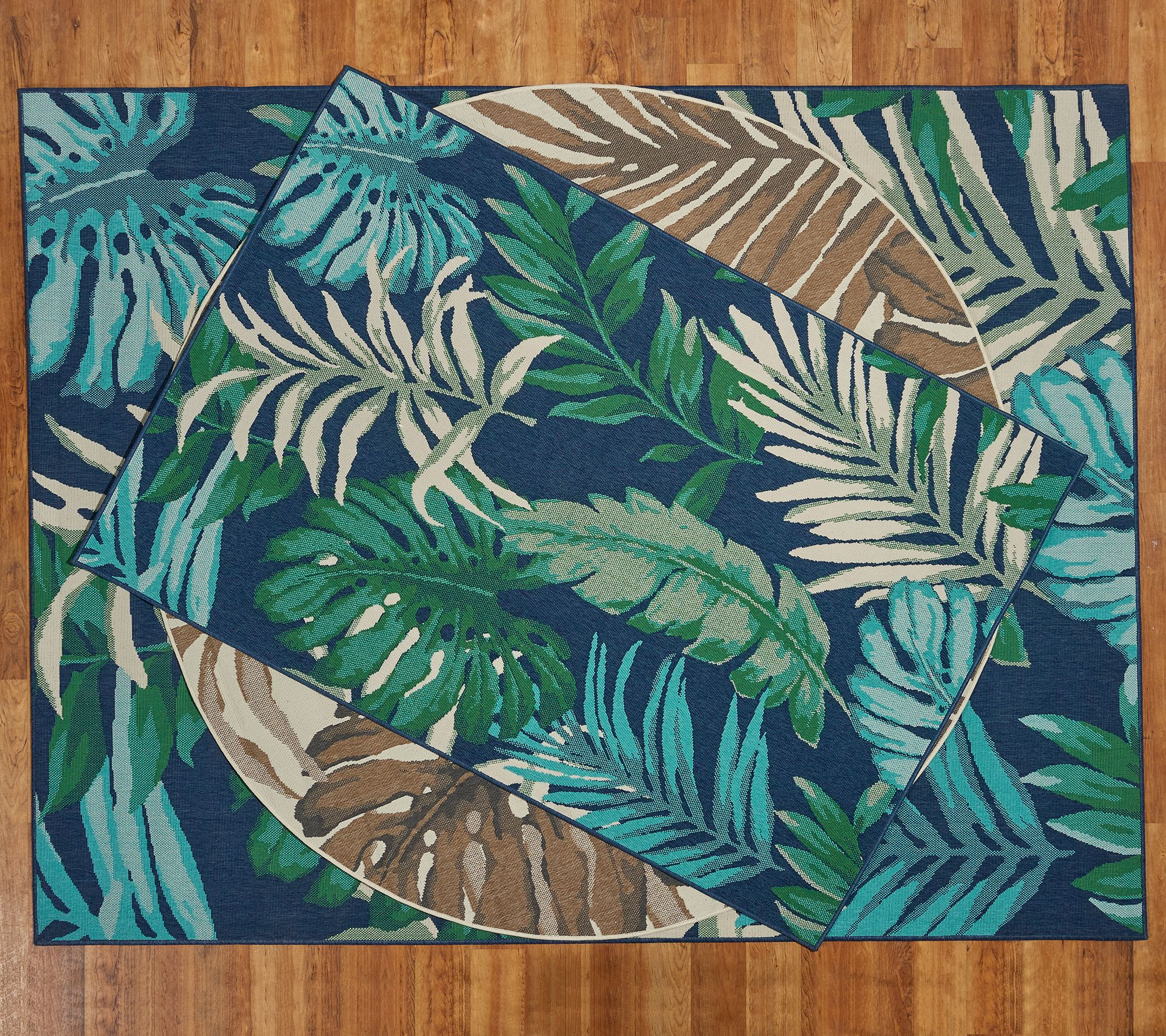 tommy bahama palm leaves indoor outdoor rug qvc com