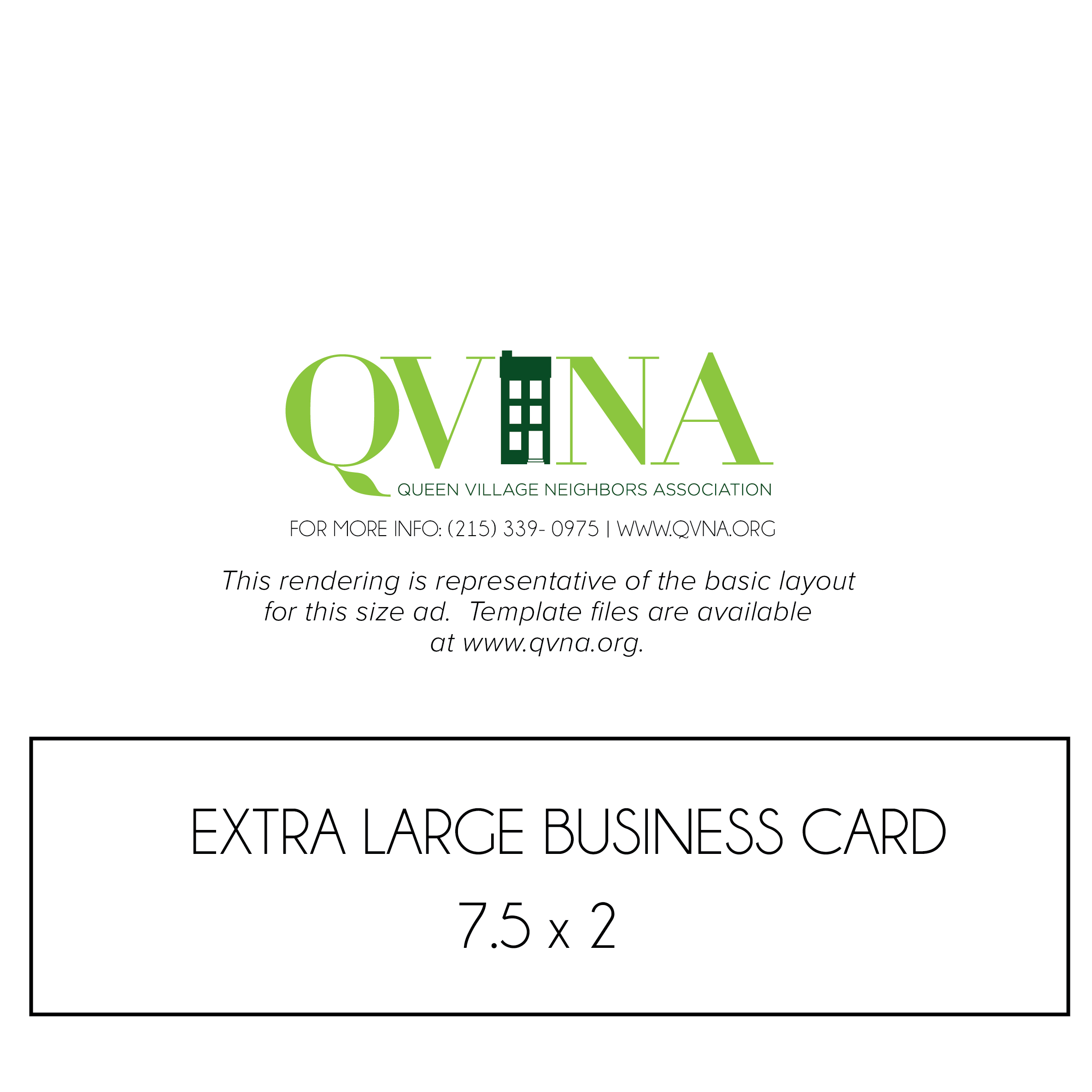 Extra Large Business Card – Queen Village Neighbors Association
