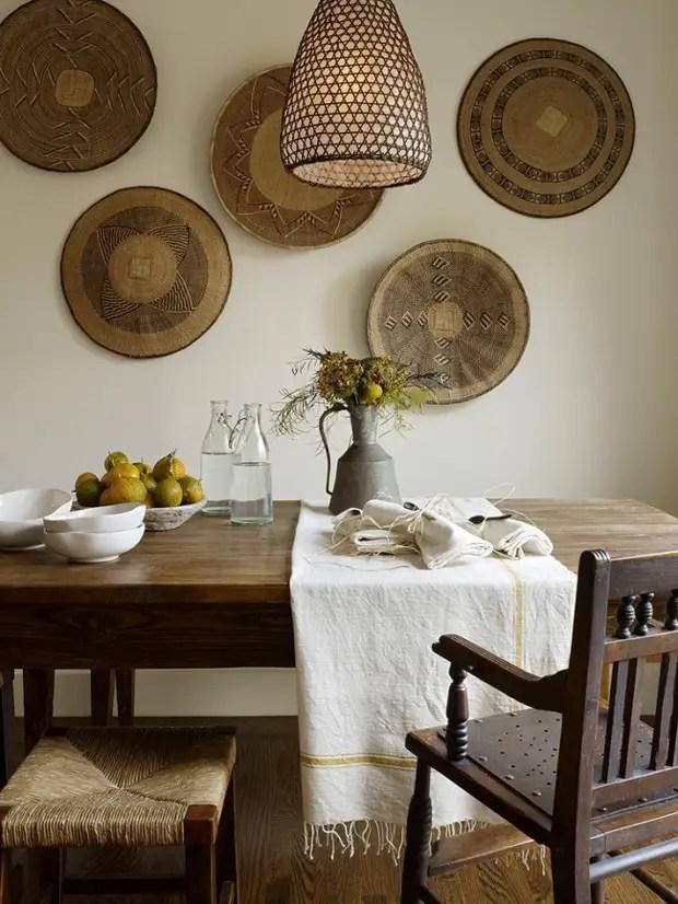 Placas de parede decorativas de materiais naturais