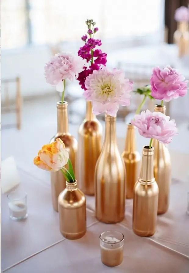Menghias botol cat emas