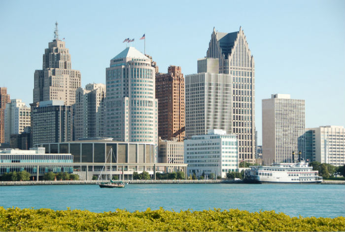 View of waterfront and downtown Detroit in Michigan