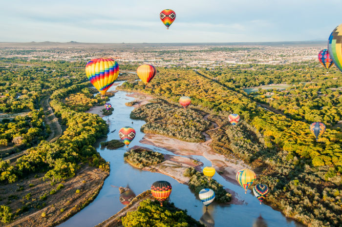 Hot air balloons floating near Albuquerque, New Mexico