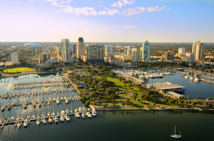 Aerial view of St. Petersburg, FL