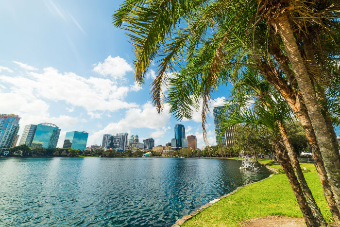 View of from Lake Eola in Orlando, Florida