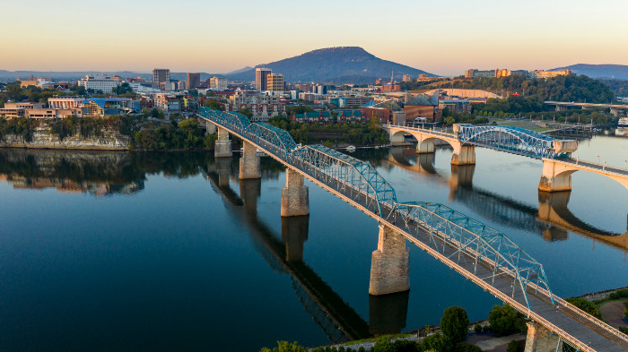 View of Downtown Chattanooga Tennessee at sunrise