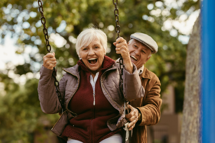 Colorado couple on a swing