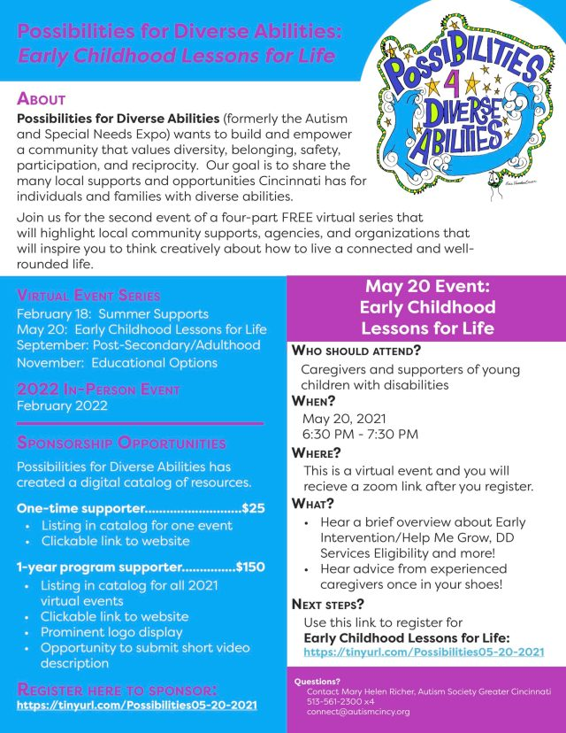 Image of the flyer that includes details for the Early Childhood Lessons for Life Event.  Details can be found in the PDF flyer as well.