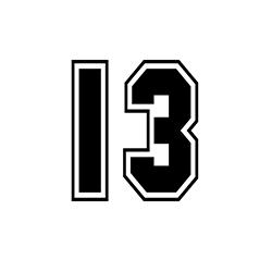 sports number 13 design