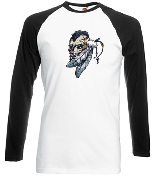 Skull with Mohican & Feathers tattoo style shirt