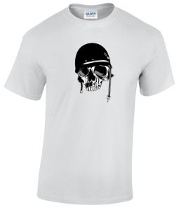 Skull Wearing an Old Motorcycle Helmet shirt