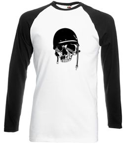 Skull Wearing an Old Motorcycle Helmet shirt