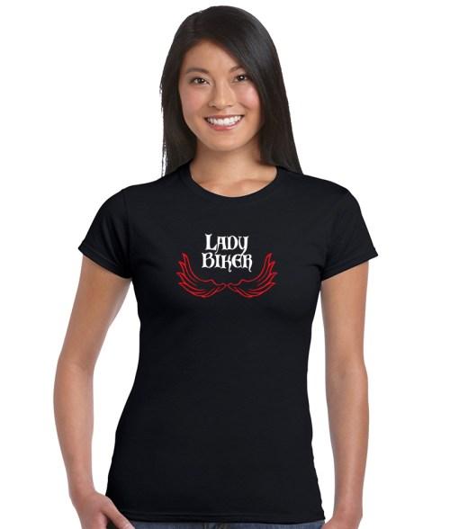 lady biker red wings top