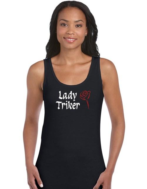lady triker red rose top