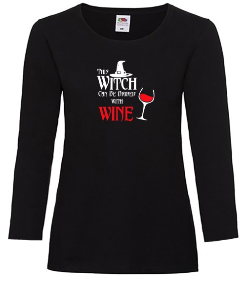 this witch can be bribed with wine ladies pagan shirt