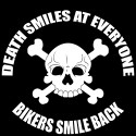 death smiles at everyone, bikers smile back biker design