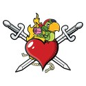 heart with 2 swords and a parrot tattoo style design