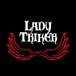 lady triker with red wings design