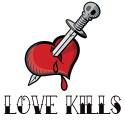 sword through heart love kills tattoo style design