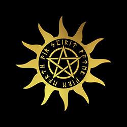 pagan sun with pentacle design