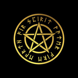 pagan pentacle with runes design