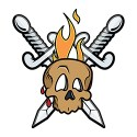 skull with crossed swords and flame tattoo style design