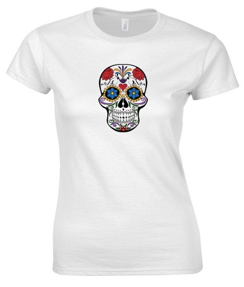 sugar skull design 10 ladies white shirt
