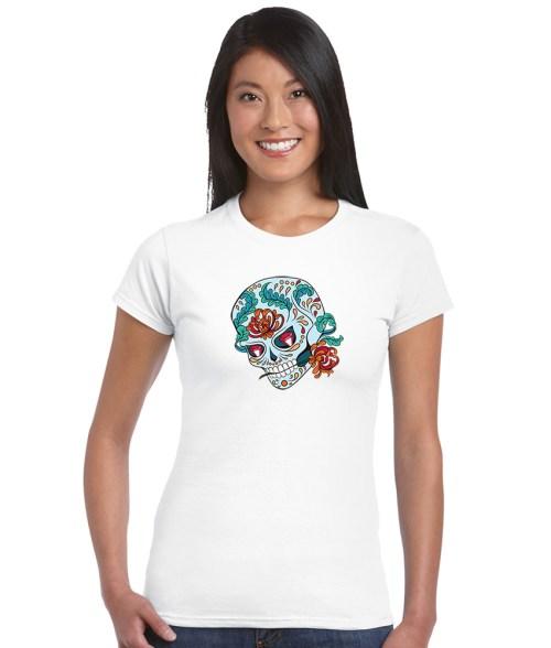 sugar skull design 01 ladies white shirt
