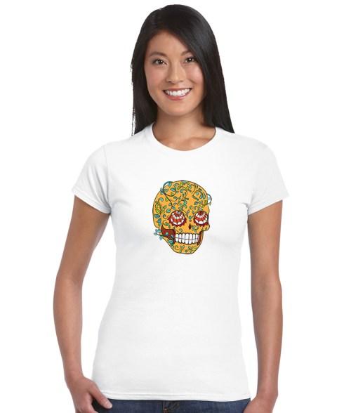 sugar skull design 06 ladies white shirt