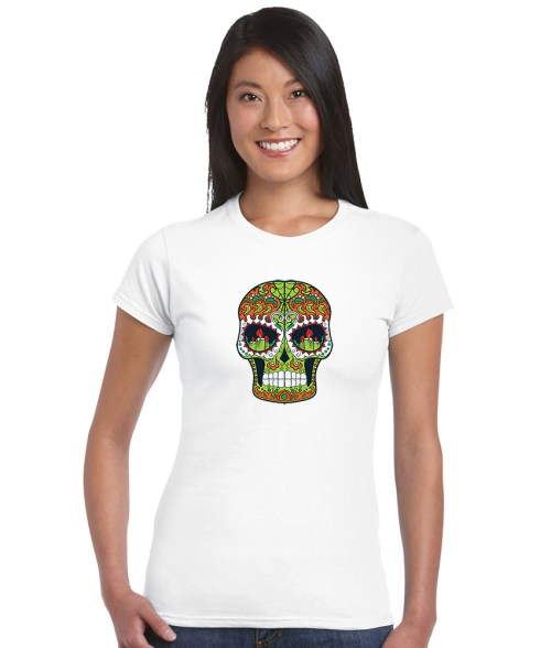 sugar skull design 07 ladies white shirt