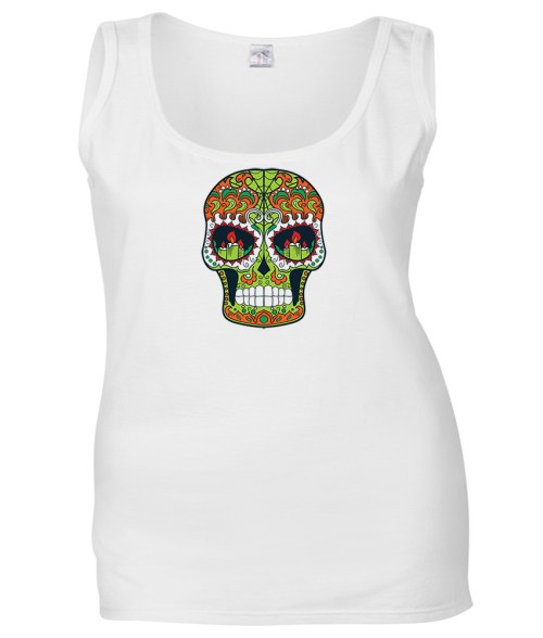 sugar skull design 07 ladies white shirt