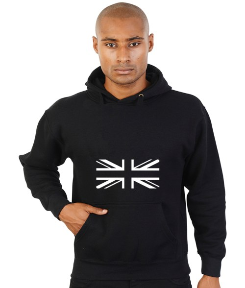 union jack in black and white hoodie
