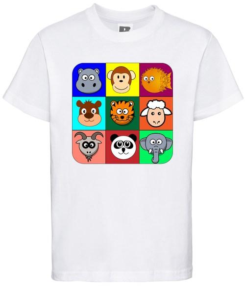 cartoon animal heads in coloured blocks kids shirt
