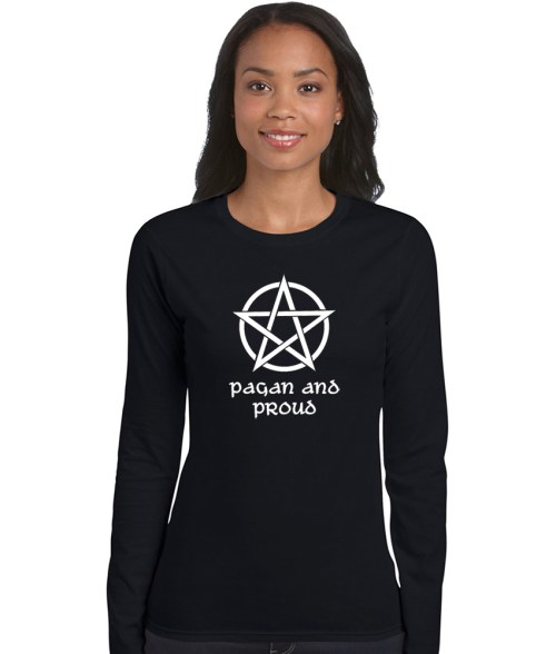 pagan and proud with white pentacle design