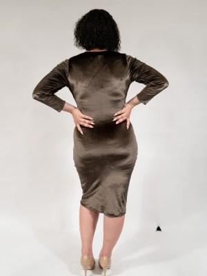 Seaweed Green Velvet Wrap Dress with Tulip Hem1
